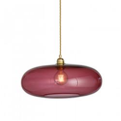 Luminaire verre soufflé Horizon Rouge Rubis, diamètre 45 cm, Ebb & Flow, douille et câble dorés