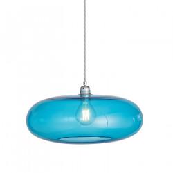 Luminaire verre soufflé Horizon Bleu Piscine, diamètre 45 cm, Ebb & Flow, douille et câble argentés