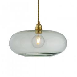 Luminaire suspension verre soufflé Horizon Vert forêt, diamètre 36 cm, Ebb & Flow, douille et câble dorés
