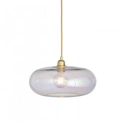 Luminaire suspension verre soufflé Horizon Nacré Caméléon, diamètre 36 cm, Ebb & Flow, douille et câble dorés