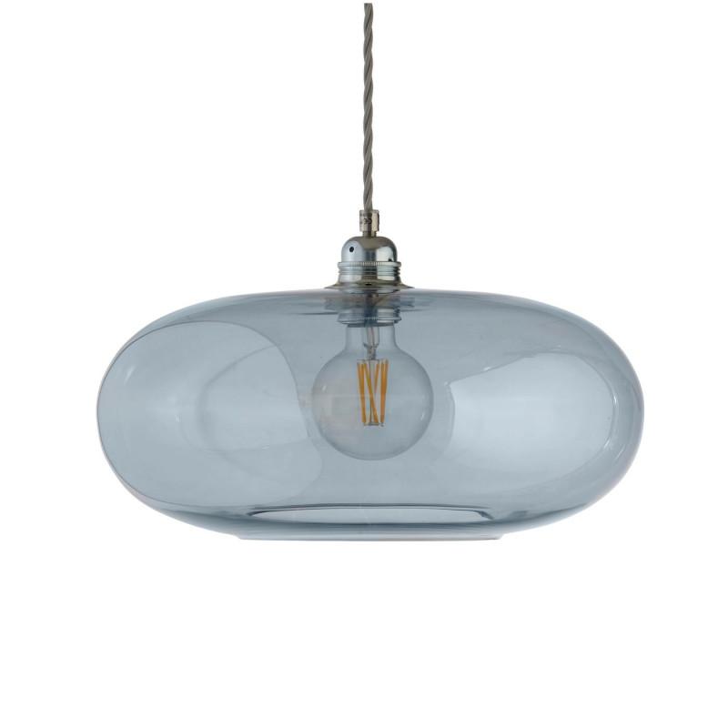 Luminaire suspension verre soufflé Horizon Bleu ,Topaze diamètre 36 cm, Ebb & Flow, douille et câble argentés