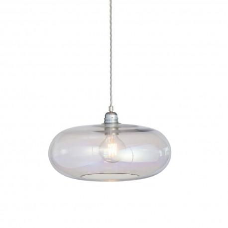 Luminaire suspension verre soufflé Horizon Nacré Caméléon, diamètre 36 cm, Ebb & Flow, douille et câble argentés