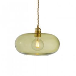 Suspension verre soufflé design Horizon Vert olive, diamètre 29 cm, Ebb & Flow, douille et câble dorés