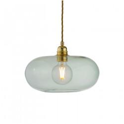 Suspension verre soufflé design Horizon Vert forêt, diamètre 29 cm, Ebb & Flow, douille et câble dorés
