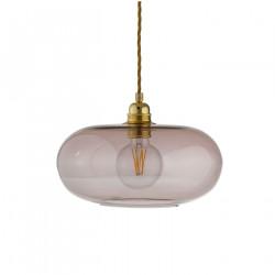 Suspension verre soufflé design Horizon Obsidienne, diamètre 29 cm, Ebb & Flow, douille et câble dorés