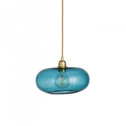 Suspension verre soufflé design Horizon Bleu Océan déchainé, diamètre 29 cm, Ebb & Flow, douille et câble dorés