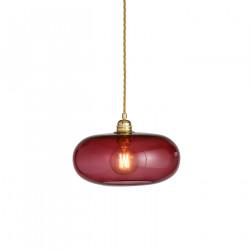 Suspension verre soufflé design Horizon Rouge Rubis, diamètre 29 cm, Ebb & Flow, douille et câble dorés