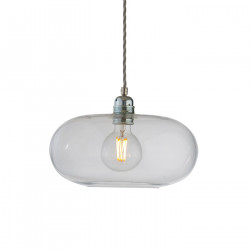 Suspension verre soufflé design Horizon Transparent, diamètre 29 cm, Ebb & Flow, douille et câble argentés