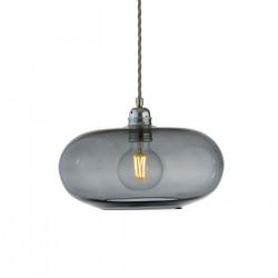 Suspension verre soufflé design Horizon Gris fumé, diamètre 29 cm, Ebb & Flow, douille et câble argentés