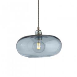 Suspension verre soufflé design Horizon Bleu Topaze, diamètre 29 cm, Ebb & Flow, douille et câble argentés