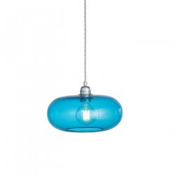 Suspension verre soufflé design Horizon Bleu Piscine, diamètre 29 cm, Ebb & Flow, douille et câble argentés