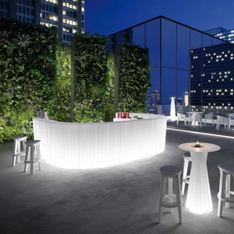 Module droit Bar Frozen Large, Plust, blanc Lumineux à ampoule, plan de travail 124 x 62 cm