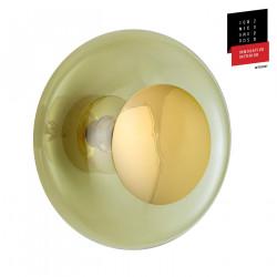 Plafonnier verre soufflé Horizon Vert olive, diamètre 36 cm, Ebb & Flow, centre métal doré