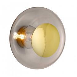 Plafonnier verre soufflé Horizon Marron glacé, diamètre 36 cm, Ebb & Flow, centre métal doré