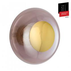 Plafonnier verre soufflé Horizon Obisidienne, diamètre 36 cm, Ebb & Flow, centre métal doré