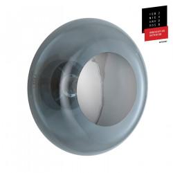 Plafonnier verre soufflé Horizon Gris fumé, diamètre 36 cm, Ebb & Flow, centre métal argenté