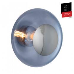 Plafonnier verre soufflé Horizon Bleu Abysse, diamètre 36 cm, Ebb & Flow, centre métal argenté