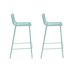Lot de 2 Tabourets hauts filaires Nolita, Pedrali bleu, hauteur d'assise 65 cm