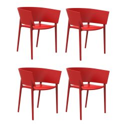 Set de 4 fauteuils Africa, Vondom rouge
