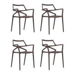 Lot de 4 chaises Delta, Vondom bronze