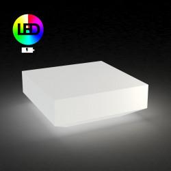 Table basse carrée Vela Chill, Lumineuse Leds RGBW alimentation batterie, Vondom blanc