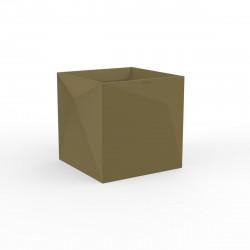 Pot Faz carré, design à facettes 40x40xH40 cm, Vondom kaki