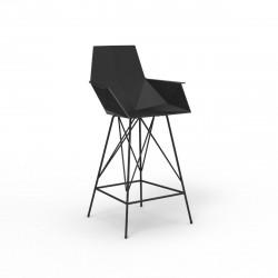 Tabouret haut Faz, hauteur d'assise 66cm, Vondom noir, avec accoudoirs