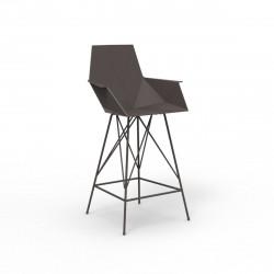 Tabouret haut Faz, hauteur d'assise 66cm, Vondom bronze, avec accoudoirs