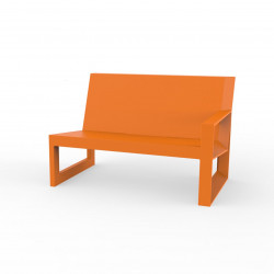 Module gauche pour salon de jardin design Frame, Vondom orange avec coussins en tissu Silvertex