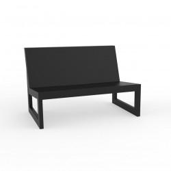 Module central pour salon de jardin design Frame, Vondom noir avec coussins en tissu Silvertex