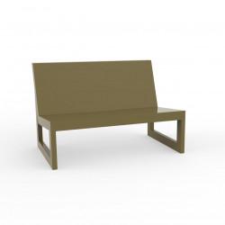 Module central pour salon de jardin design Frame, Vondom kaki avec coussins en tissu Silvertex