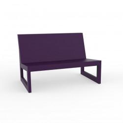 Module central pour salon de jardin design Frame, Vondom prune avec coussins en tissu Silvertex