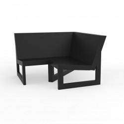 Module d'angle 90° pour canapé angle exterieur Frame, Vondom noir avec coussins en tissu Silvertex