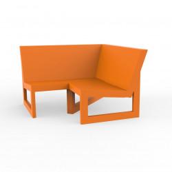 Module d'angle 90° pour canapé angle exterieur Frame, Vondom orange avec coussins en tissu Silvertex