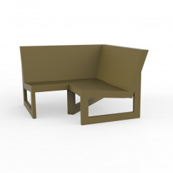 Module d'angle 90° pour canapé angle exterieur Frame, Vondom kaki avec coussins en tissu Silvertex