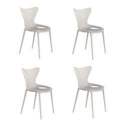 Lot de 4 chaises Love Kids, Vondom écru