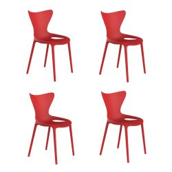 Lot de 4 chaises Love Kids, Vondom rouge