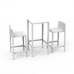Set Spritz table et 2 tabourets, hauteur d\'assise 66cm, Vondom blanc