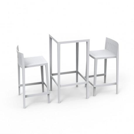 Set Spritz table et 2 tabourets, hauteur d'assise 66cm, Vondom blanc