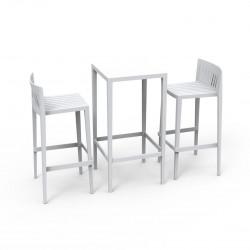 Set Spritz table et 2 tabourets, hauteur d\'assise 76cm, Vondom blanc