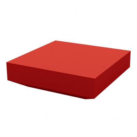 Table basse design carrée Vela, Vondom rouge, 100x100xH30 cm