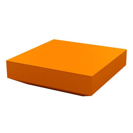 Table basse design carrée Vela, Vondom orange, 100x100xH30 cm