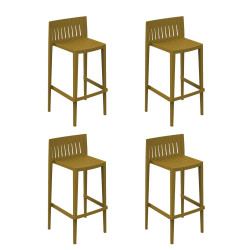 Lot de 4 tabourets hauts Spritz, hauteur d'assise 76cm, Vondom moutarde