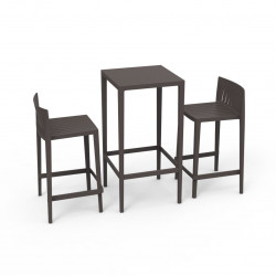 Set Spritz table et 2 tabourets, hauteur d'assise 66cm, Vondom bronze