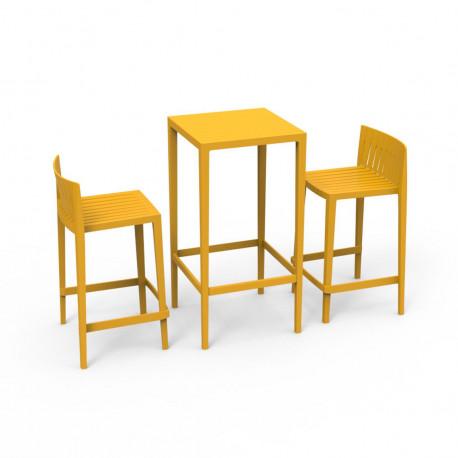 Set Spritz table et 2 tabourets, hauteur d'assise 66cm, Vondom moutarde