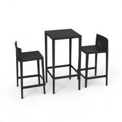 Set Spritz table et 2 tabourets, hauteur d'assise 76cm, Vondom noir