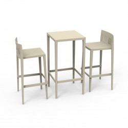 Set Spritz table et 2 tabourets, hauteur d'assise 76cm, Vondom ecru