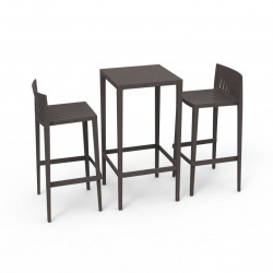 Set Spritz table et 2 tabourets, hauteur d'assise 76cm, Vondom bronze