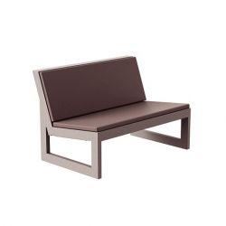 Module central pour salon de jardin design Frame, Vondom bronze avec coussins en tissu Silvertex