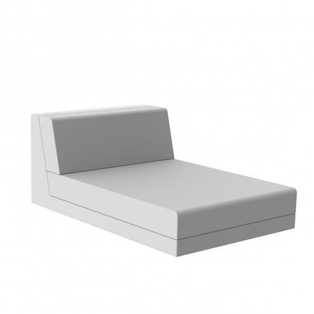 Canapé Pixel, module chaise longue extérieure, Vondom, 151x100x63 cm, tissu Silvertex blanc